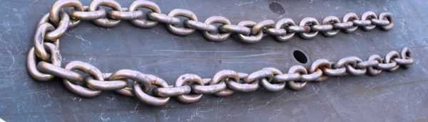 Chain 13mm chaim-link x 2m Length, plain ended (no ;oop thru rings, secure by pad-lock (not dupplied)