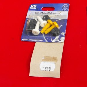 Number plate fixing bolts 2 yellow, 2 white, Code AP0850