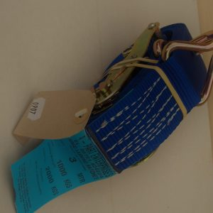 Lashing Strap, Ratchet strap, claw hooks, Rated 1000kg, breakstrain 2000kg, 3m x 50mm, blue.